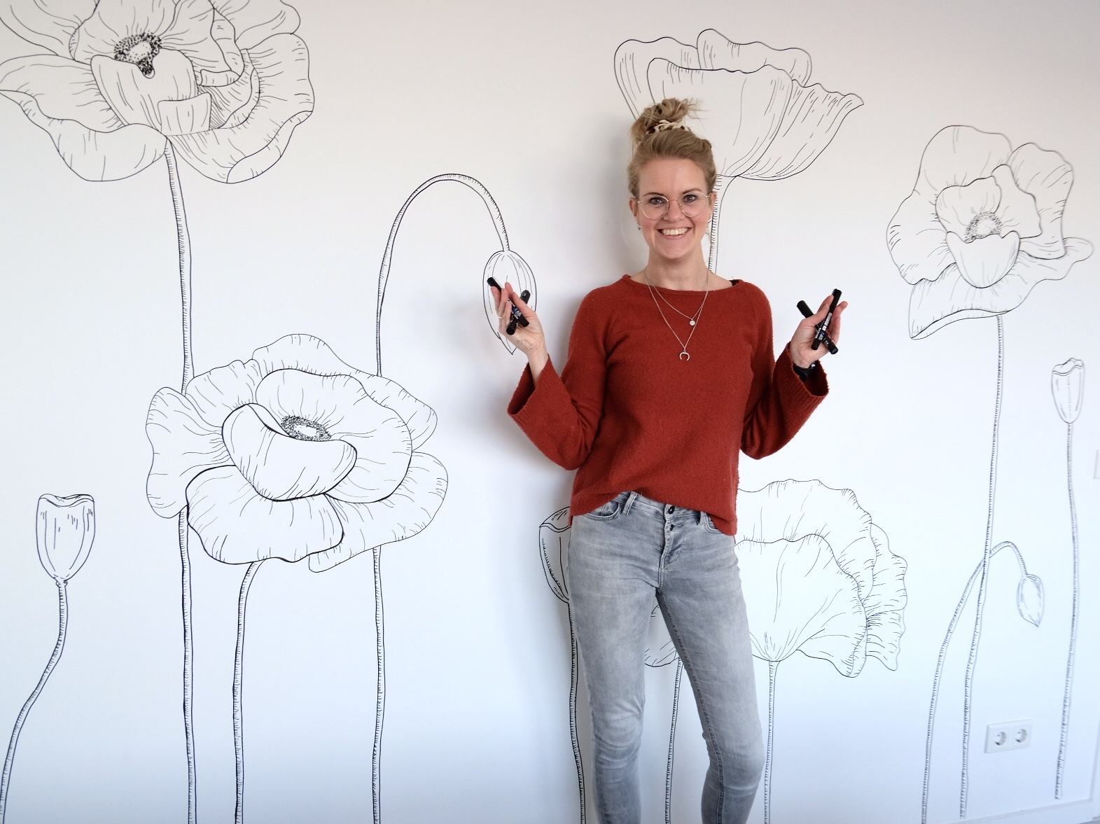 muurtekening bloemen