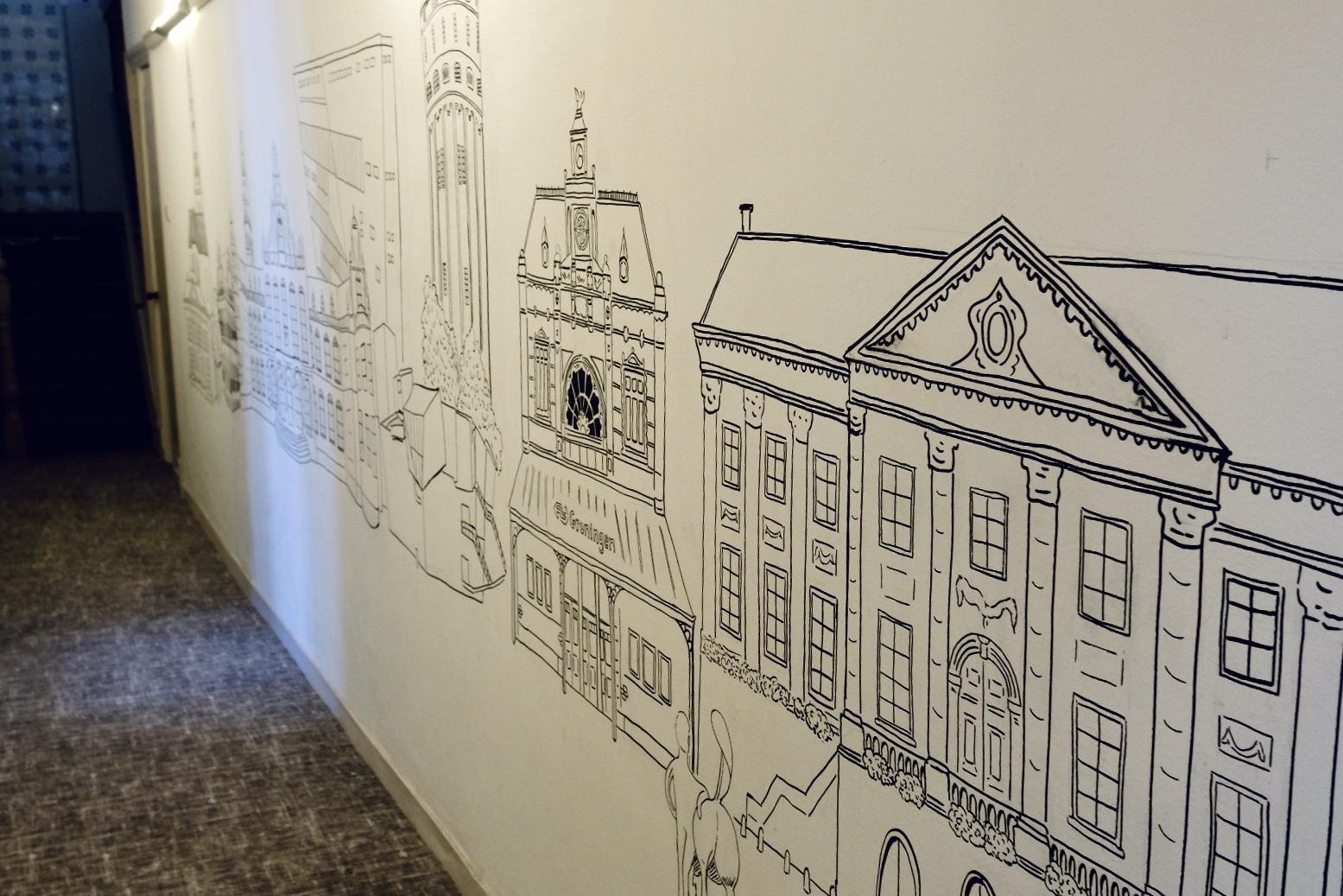 muurtekening skyline Groningen