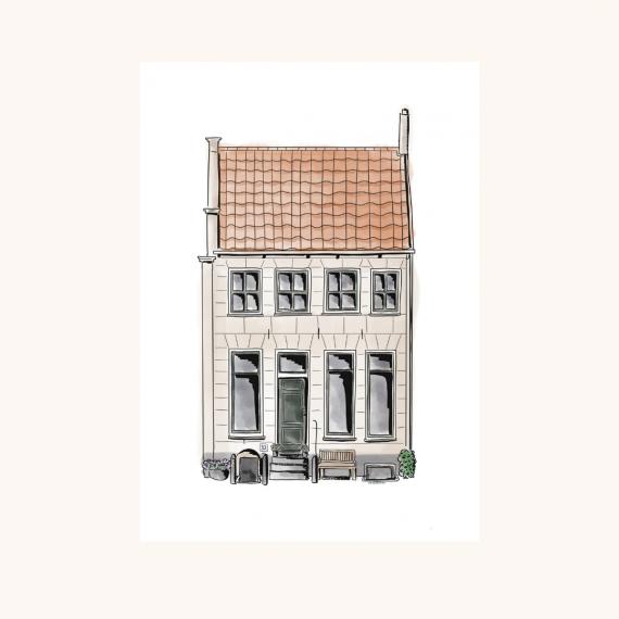 Getekende illustratie monumentaal huis
