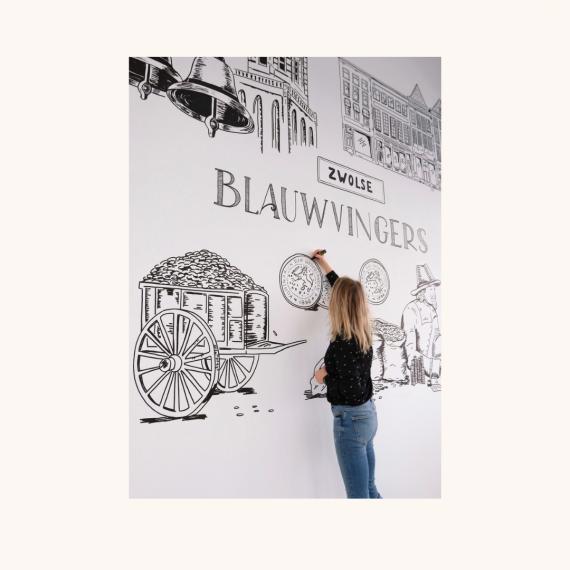 muurtekening blauwvingers zwolle